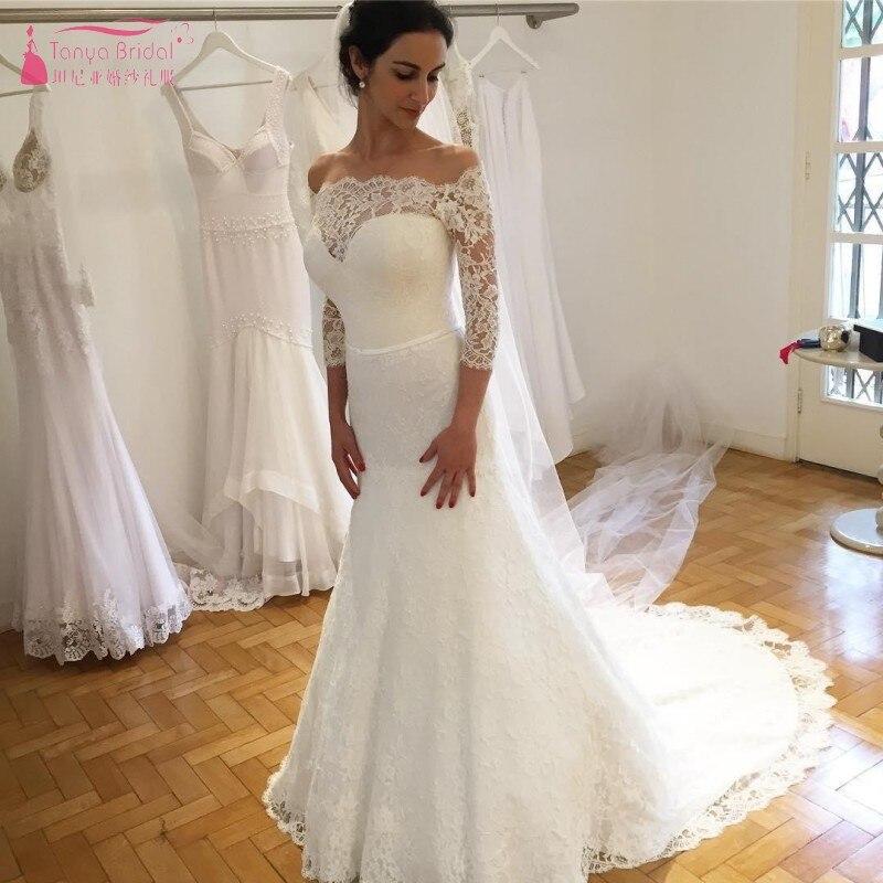 eafdcad4193 Винтаж Полный Кружево 2019 свадебное платье es Русалка с длинными рукавами  в арабском стиле Свадебные платья