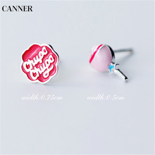 Canner Cute Gift For Girl Tiny Stud Earrings 925 Sterling Silver Asymmetric Candy Letter Ear Jewelry Women W4