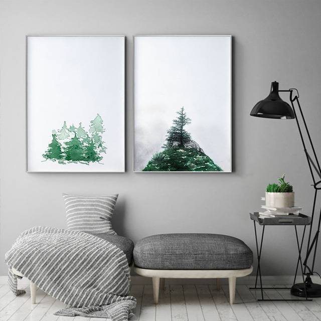 Modern Geometric Wall Art HD Print Mountain Canvas Painting Large ...