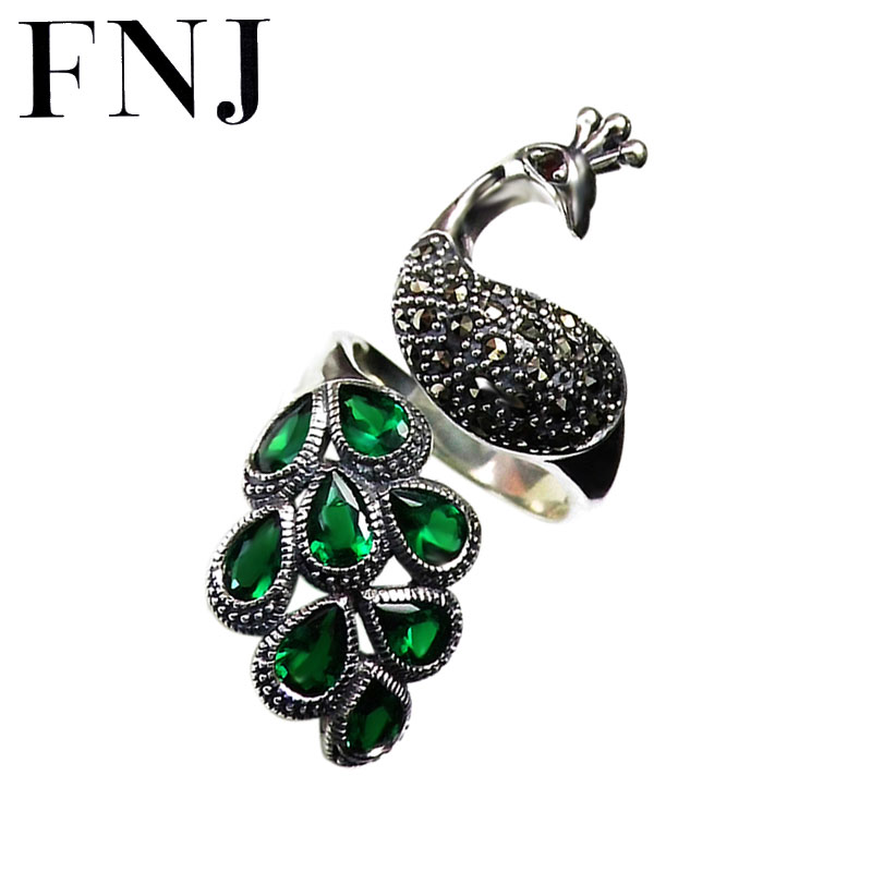 FNJ MARCASITE Peacock Ring 925 Silver Red Green Zircon Original S925 Sterling Silver Rings for Women
