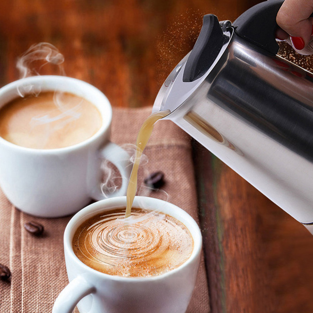Stainless Steel Stovetop Coffee Maker Pot Mocha Moka Espresso Latte Coffee Pot Filter 100ML 200ML 300ML 400ML Coffee Machine (3)
