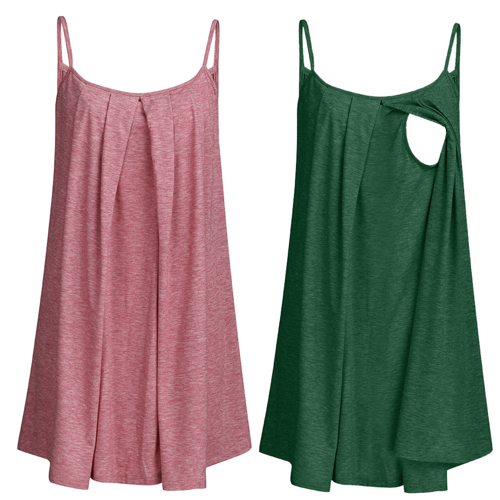 Maternity Tops Maternity Clothes Women Pregnant Nusring Maternity Sleeveless Tops Straps Ruffles Solid Clothes MM605