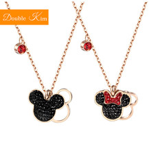 Mickey Minnie Mouse Pendant Necklace Titanium Steel Chain Necklace Inlaid Crystal Fashion Trendy Women Jewelry Birthday Gift(China)