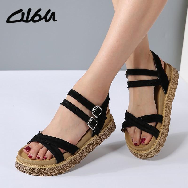 O16U Shoes Woman Suede Leather Heel Gladiator Sandals Ladies Flip Flops Thick Bottom Platform Sandals Summer Flat Sandals Black