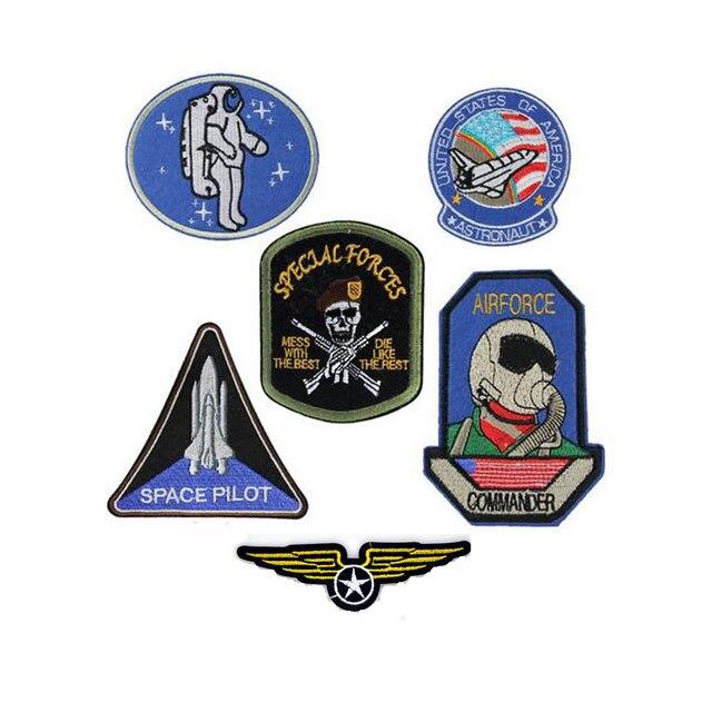 6 pcs ferro em patches eua astronauta mergulhador ar asas logotipo bordado  diy emblemas militares das c6c57b78819