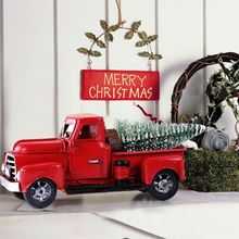 christmas red vintage classic car handmade tin truck model travel version pickup christmas tree decor new