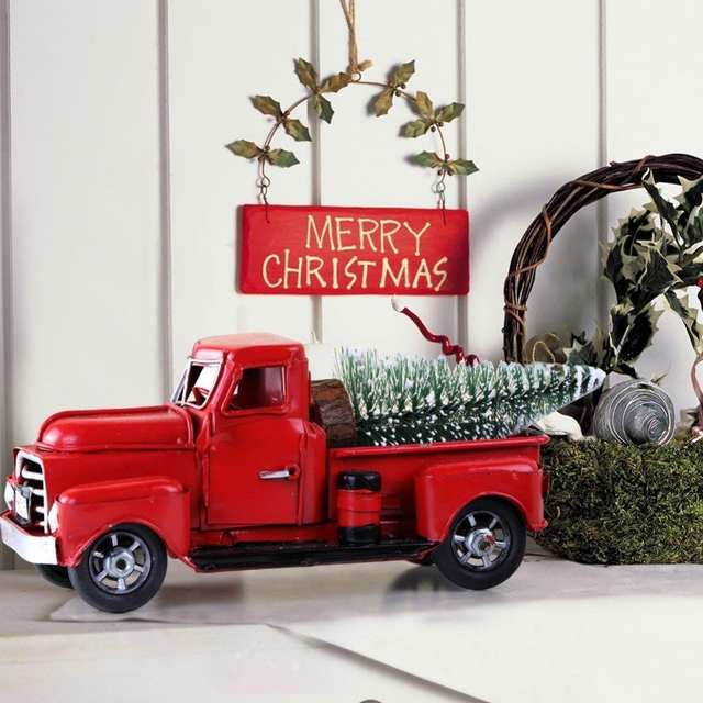 Car Christmas Tree.Christmas Red Vintage Classic Car Handmade Tin Truck Model Travel Version Pickup Christmas Tree Decor New Year Kids Gift