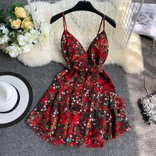 Sexy V neck spaghetti dress retro flower print short dresses slim waist ruffles mini chiffon vestidos Dress V-Colla