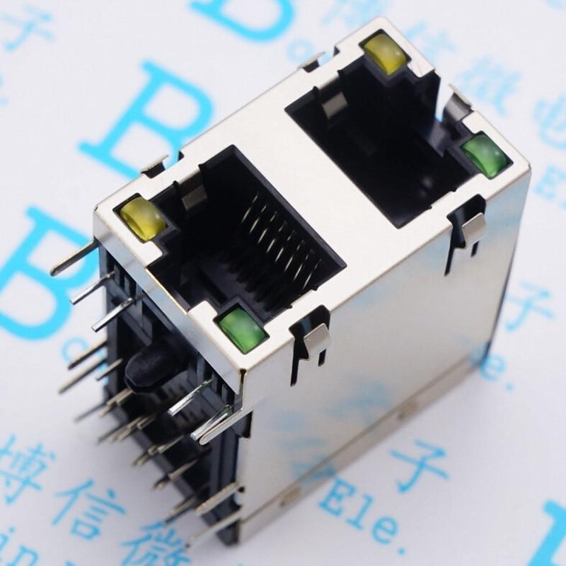RJ45 разъем двойной освещенные сетевой разъем 90 градусов двухслойная 59-2x1 экранированным лампа
