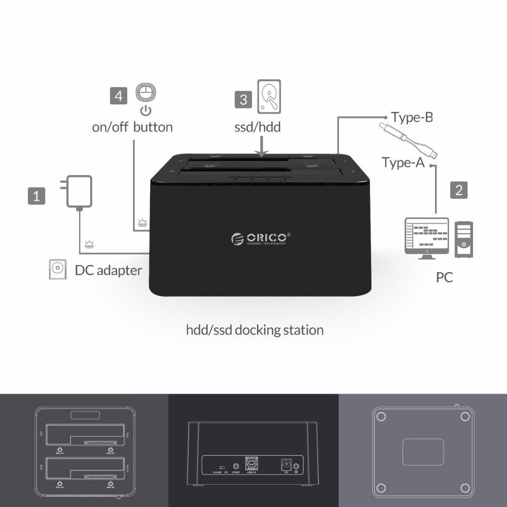 ORICO USB 3.0 à SATA boîtier de disque dur double baie externe HDD Station d'accueil pour 2.5 3.5 HDD/SSD duplicateur Clone fonction - 6
