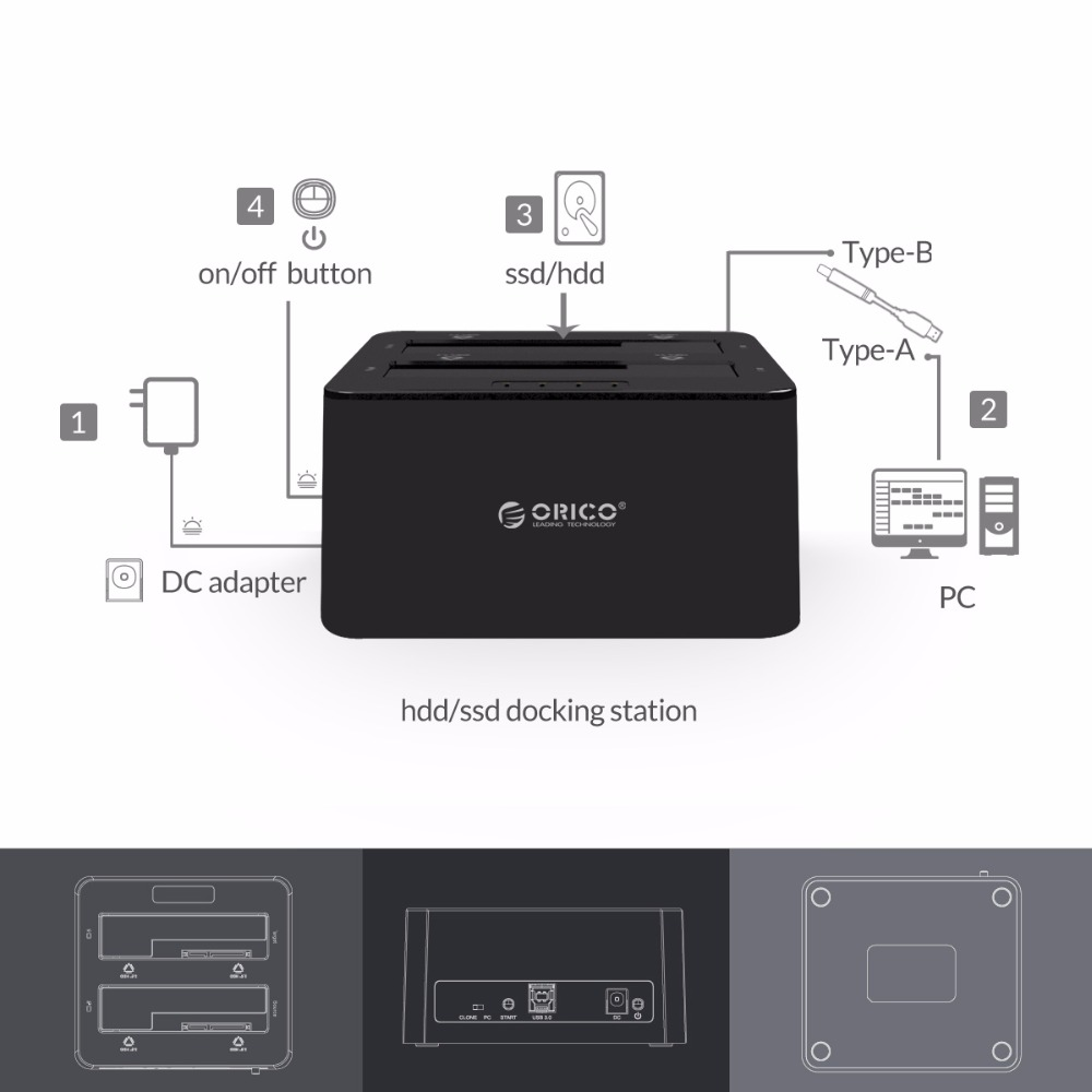 ORICO Case Docking-Station Duplicator Hard-Drive Clone-Function External-Hdd SATA Dual-Bay