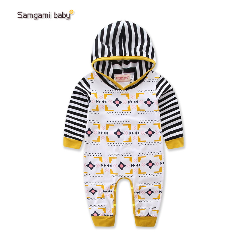 SAMGAMI BABY New Spring Autumn Baby Rompers Cute Stripe Pattern Long Sleeve Infant Girl Boy Jumpers Kids Outfits Clothes