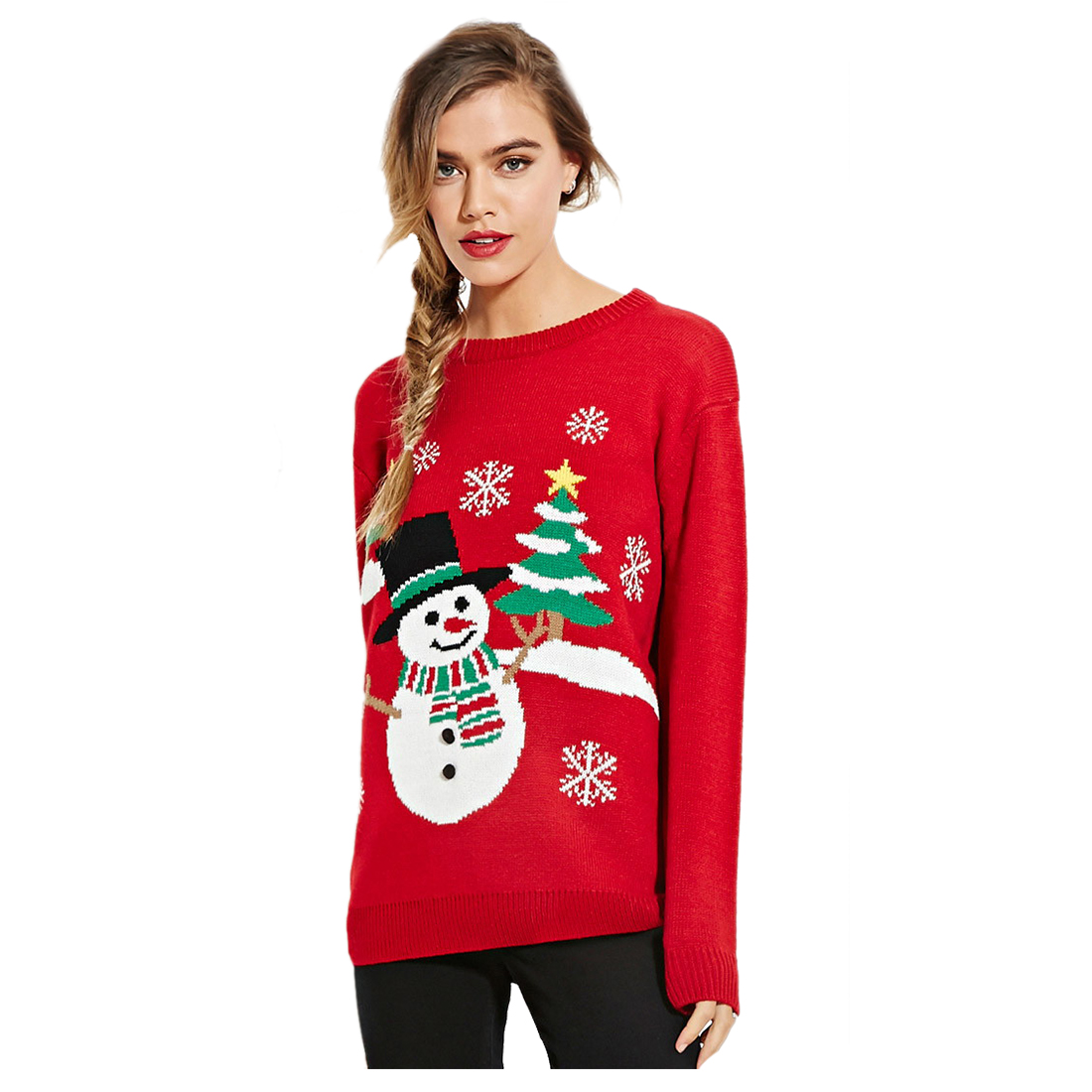 Women Fashion Autumn Winter Pattern Knitted Snowman Christmas Tree Sweaters Lovelys Christmas Sweater Leisure Warmer Pullover