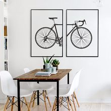2 panels Modern Minimalist Canvas Print Painting Poster of Black and White Bicycle wall picture without frame home decor(China)