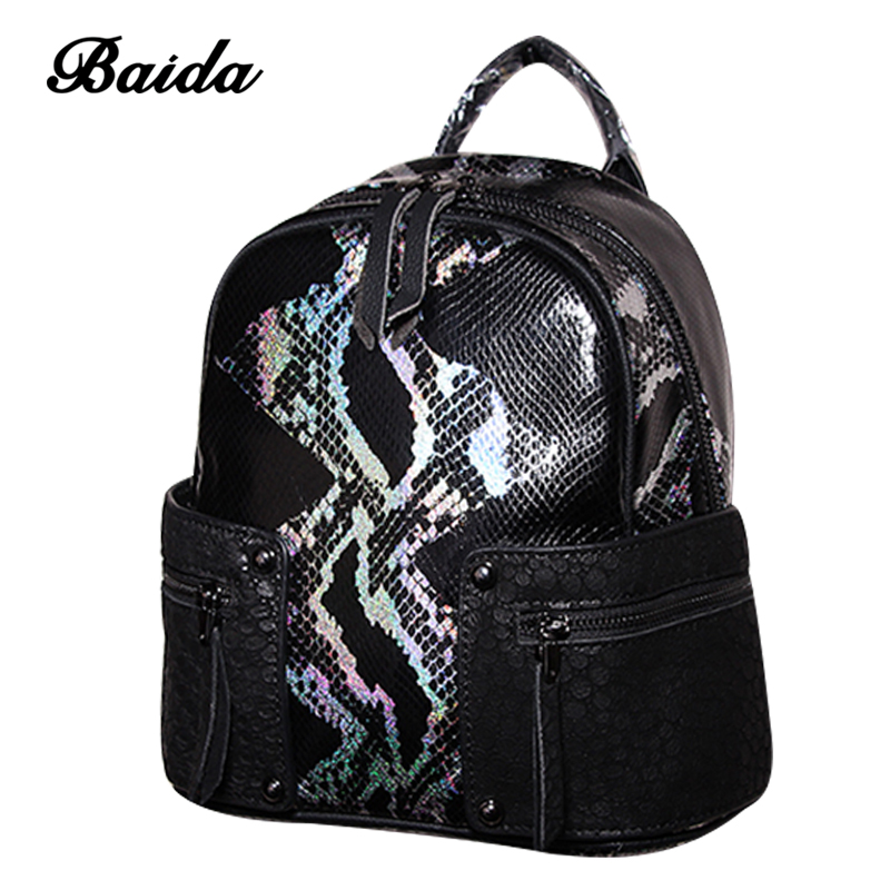 Fashion Women Joint Genuine Leather Backpack Alligator Satchel Luxury Rivet Daily Casual Large Capacity Bags Daily Mochilas fashion design women backpack leather star rivet black female youth satchel