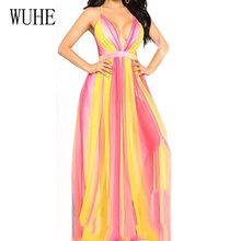 WUHE Fashion Vintage Gradient Floor-length Chiffon Maxi Dress Elegant Lady Deep V Neck Backless Sleeveless Party