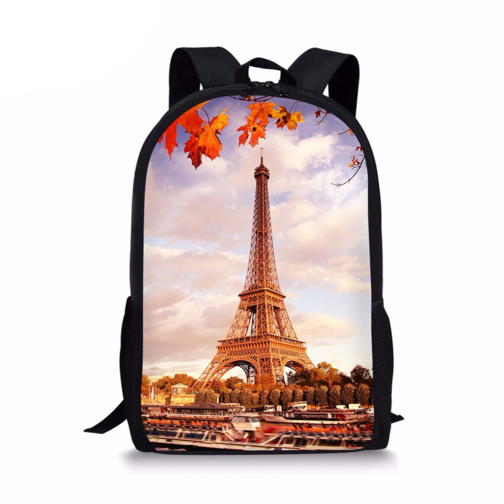 Men Backpacks Eiffel-Tower Top-Rucksack Schoolbagssumka Girls Teens Women Print for Boys