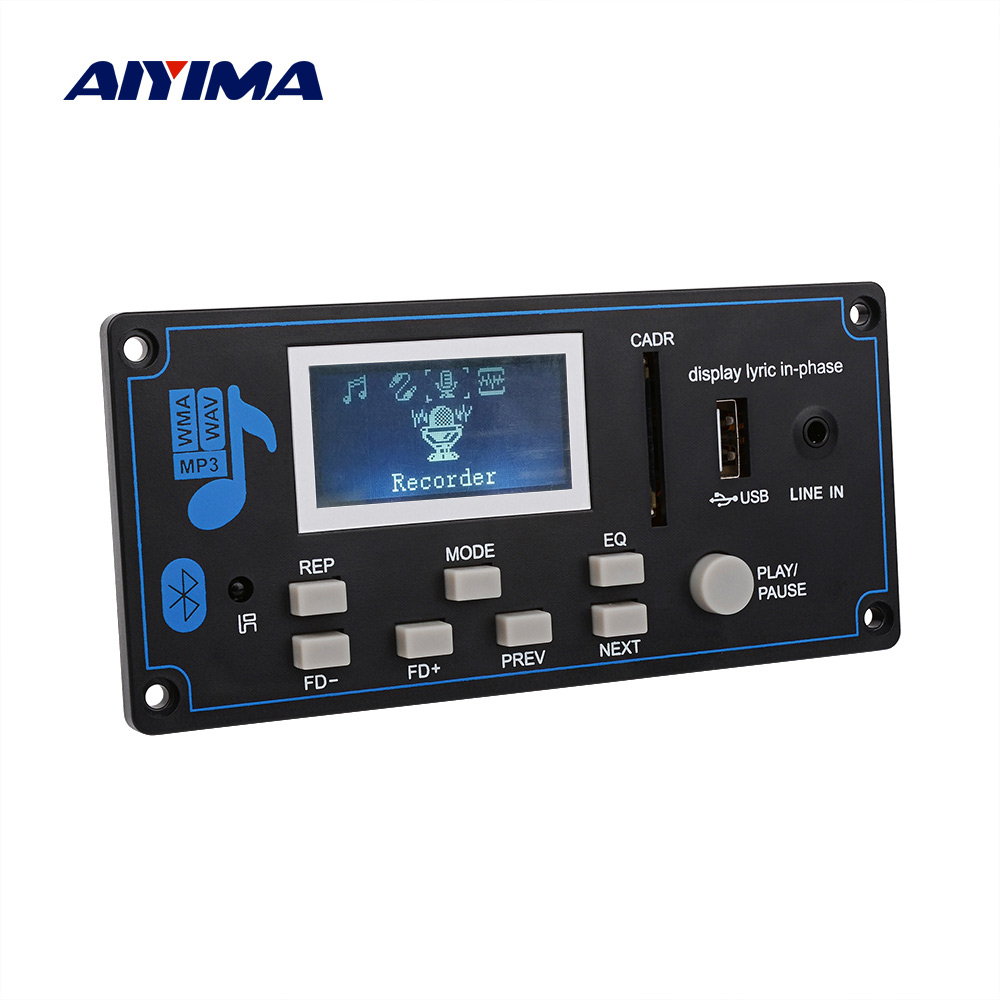 AIYIMA Bluetooth MP3 Decoder Board WMA USB SD FM AUX Decoding Car MP3 Module Lyrics Synchronization DIY Speaker Amp Home Theater