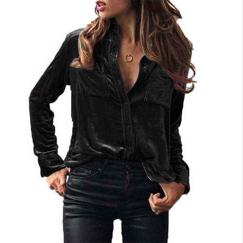 Las mujeres blusa de terciopelo Tops de manga larga, negro, rojo, azul, Borgoña gris Otoño Invierno Tops y blusas para mujer señoras camisa de la Oficina