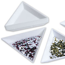 2pc White Nail Art Rhinestones Beads Container Holder Triangle Craft Tools Wholesale