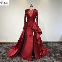 Surmonter Personnalisé Sexy Rouge Robe O-cou Manches Longues Jupe avec Fente Train Rouge Robe De Soirée robes de festa Robe De Bal