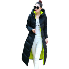 Women Jacket Winter 2016 Hooded Down Coat Female Long Paragraph Slim Thin Plus Size Code Knees Padded Jacket Thicker Coats YT205