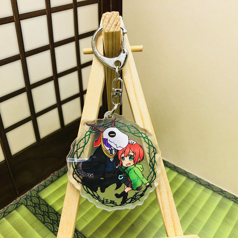 Anime The Ancient Magus Bride Keychain Cartoon Model Transparent Acrylic Pendant Key Ring