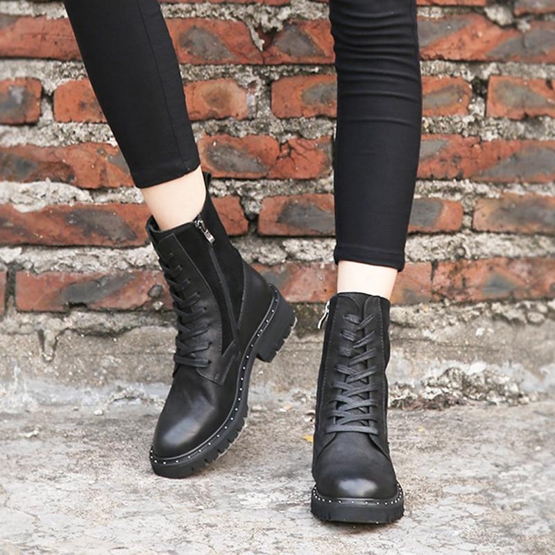 Ayakk.'ten Ayak Bileği Çizmeler'de Ingiliz Şık Stil Ayakkabı Kadın kışlık peluş çizmeler Bayan Doğal Deri Kadın Topuklu Patik Büyük Boy'da  Grup 3