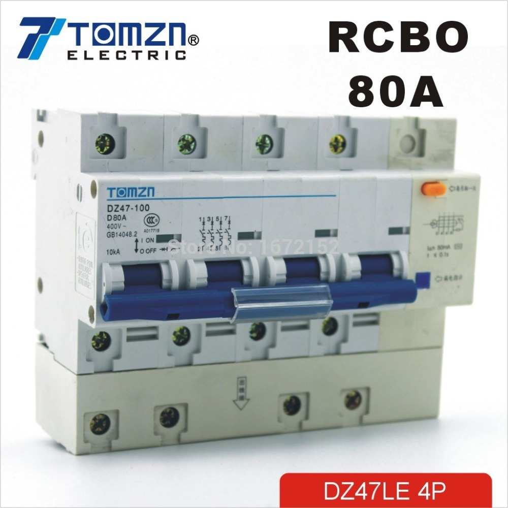 DZ47LE 4P 80A D type 400V~ 50HZ/60HZ Residual current Circuit breaker with over and Leakage current protection RCBO dz47le 3p n 63a 400v 50hz 60hz residual current circuit breaker with over current and leakage protection rcbo