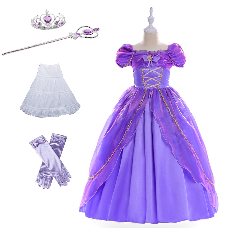 Rapunzel Kids Girls Princess Party Formal Dress Tangled Cosplay Costume evening dress Party Perform Clothes Fantasia Vestidos music note party swing dress
