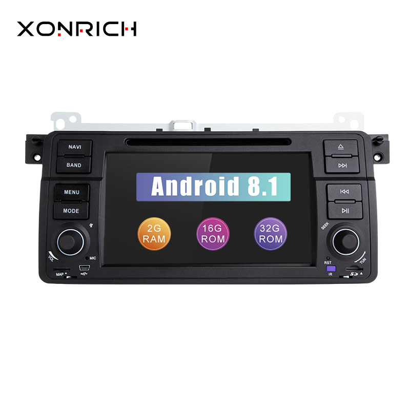 Xonrich Авторадио 1 Din Android 8,1 dvd-плеер автомобиля для BMW E46 M3 318/320/325/330 /335 Rover 75 1998-2006 gps навигации BT Wi-Fi