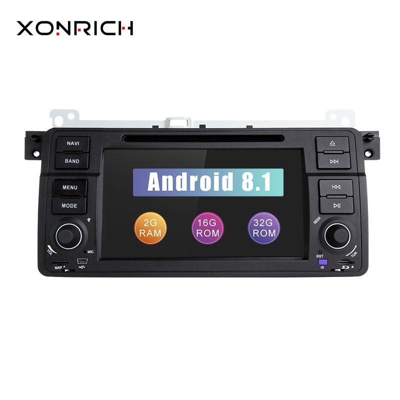 Xonrich AutoRadio 1 Din Android 8.1 Lecteur DVD de voiture Pour BMW E46 M3 318/320/325/330 /335 Rover 75 1998-2006 Navigation GPS BT Wifi