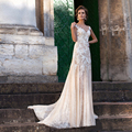 Cap Sleeves Applique Lace Sheath Illusion Back Wedding Dress Champagne Color Long Bridal Dress vestidos de novia encaje
