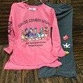 Pijamas Conjuntos de Pijamas de las mujeres Ropa de Algodón Tops Largos Conjunto Femenino Traje de Noche Las Mujeres Ropa de Dormir Ropa de Hogar Ladies Set