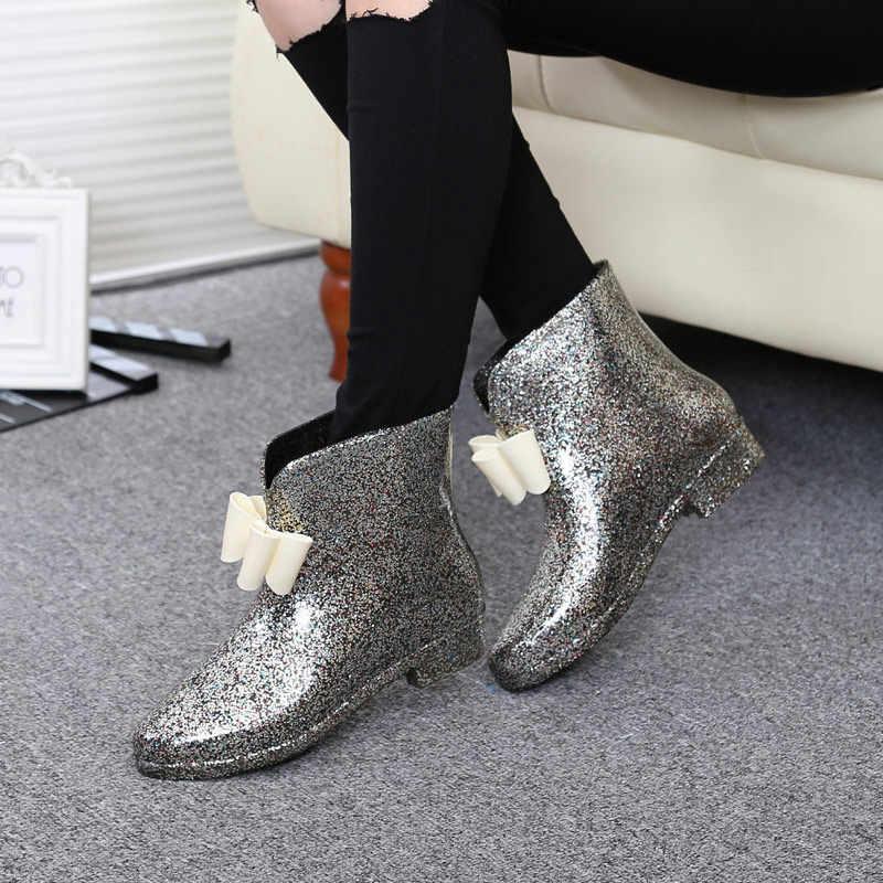 Kadın bahar yağmur çizmeleri lastik çizmeler çiçek papyon 2019 bileğe kadar bot kadın su geçirmez katı ayakkabı bebek yağmur ayakkabı bayanlar rahat