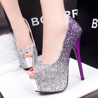 2016 Women Peep Toe High Heels Prom Wedding Shoes Lady Platforms Silver Glitter Shining Bridal Shoes