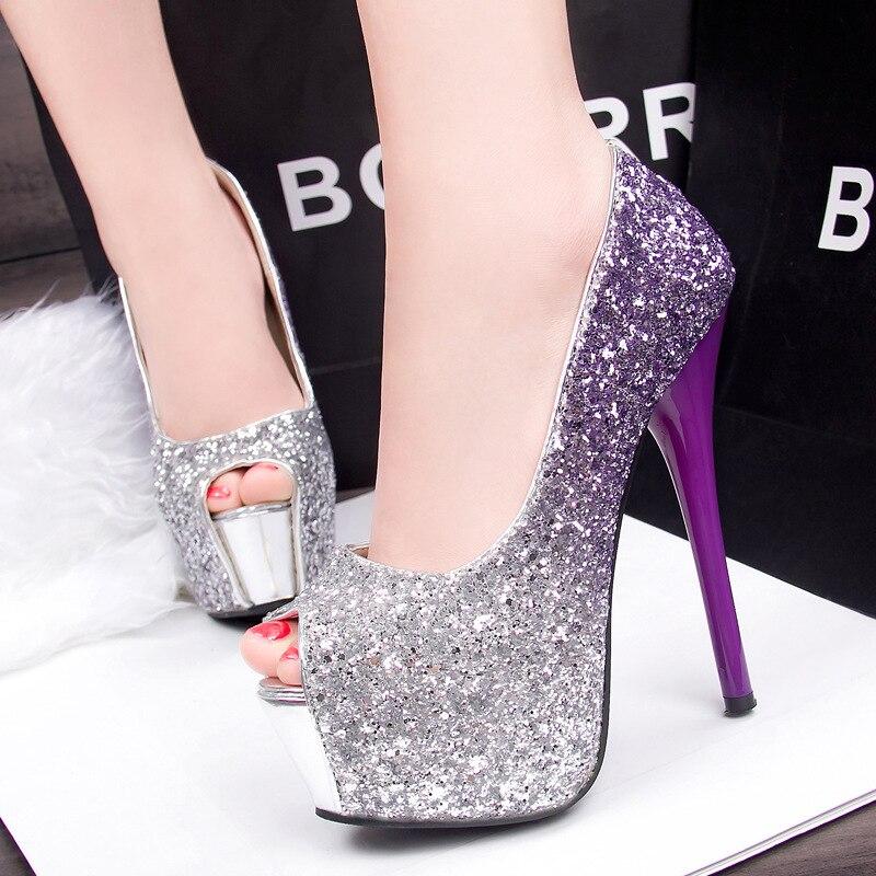 2016 Women Peep Toe High Heels Prom Wedding Shoes Lady