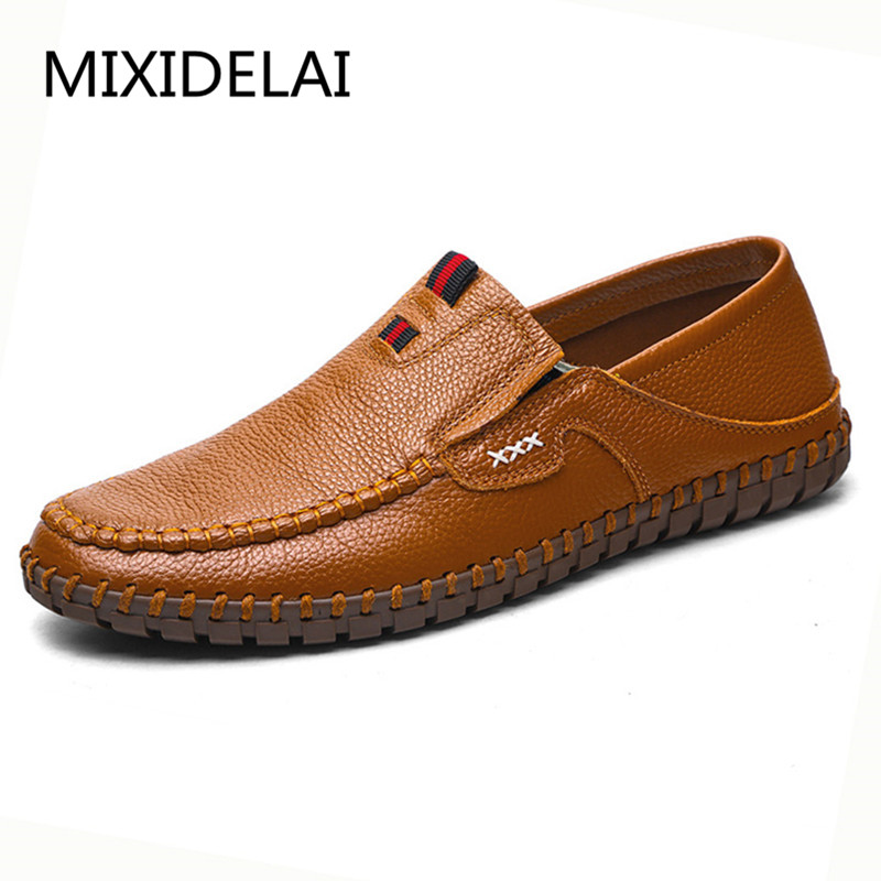 MIXIDELAI Size 38-47 Fashion Handmade Brand Genuine leather men Flats,Soft leather men Male Moccasins,High Quality Men Shoes vintage style classic 100% genuine leather men shoes fashion men flats soft leather male moccasins high quality shoes men