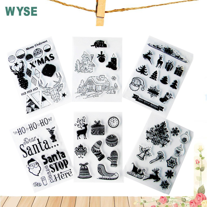 WYSE Árbol de navidad ciervo calcetín muñeco de nieve Sello transparente Sello claro Sello para Scrapbooking sello DIY sello decorativo