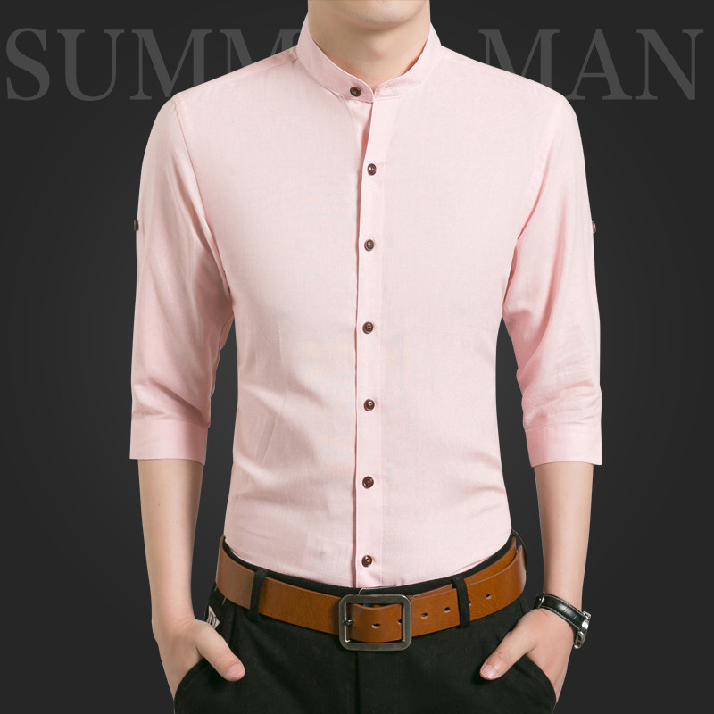 f9aaba1c VERSMA 2017 Pink Slim Fit Half Sleeve Mens Brand Mandarin Collar Shirt  Chemise Camisa Chinese Style Linen Shirts Men Blouse 5XL-in Casual Shirts  from Men's ...