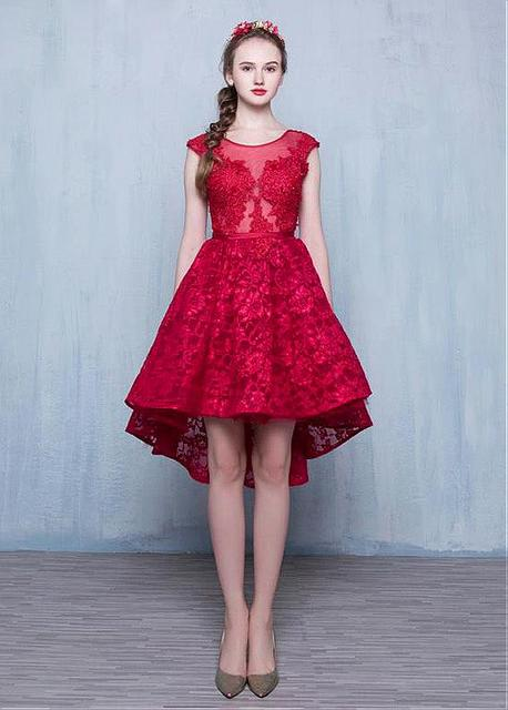 Burgundy Lace High Low Short Prom Cocktail Dresses Cap Sleeves Short Front Long Back Appliques Cocktail Dresses Robe De Cocktail