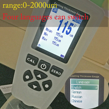 High quality coating paint thickness gauge AUTO tester F&NF range 0-2000um coating thickness tester support Russian language