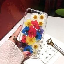 Funda de teléfono transparente hecha a mano con flores reales secas para iPhone 7 6X6s 8Plus Xs Max XR DIY funda trasera de TPU suave transparente con flores