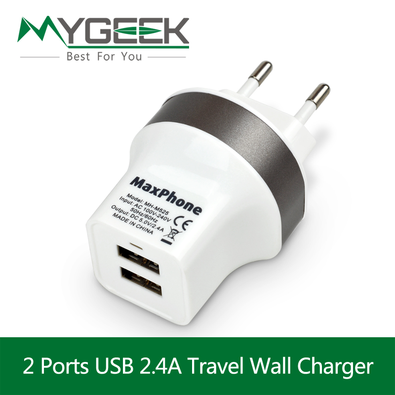 5V 2.4A Dual USB Charger Travel USB Wall Charger EU UK Plug Mobile Phone Smart Charger for iPhone 6 Xiaomi Tablet Samsung Galaxy