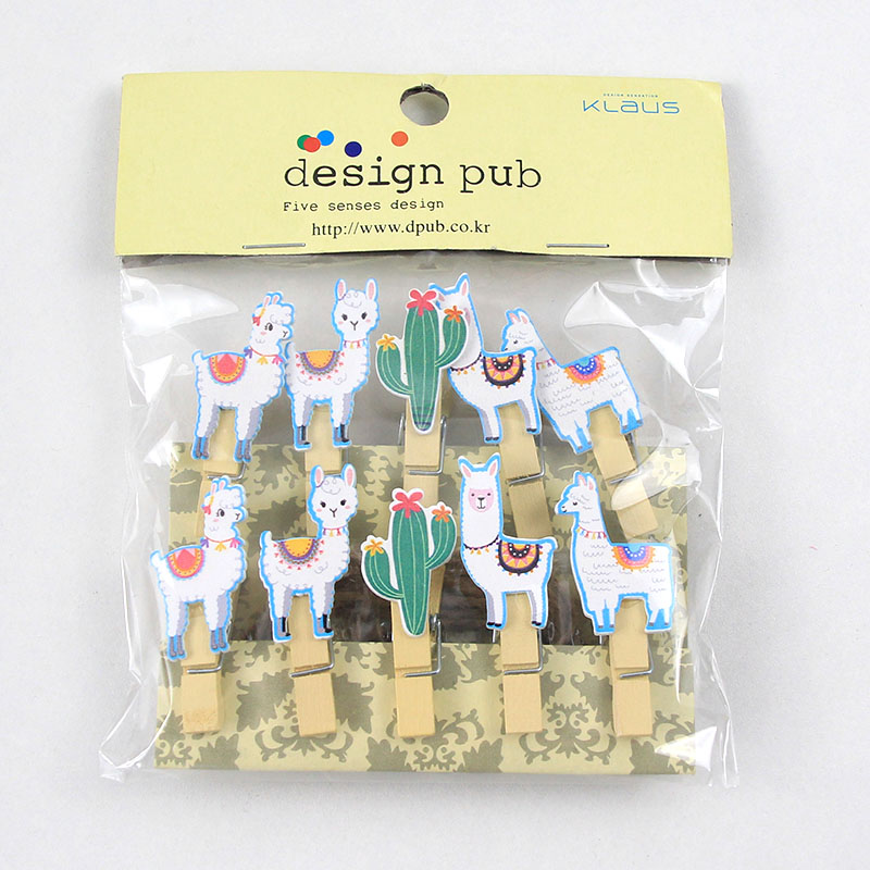 10pcs/lot Llama Cactus Wooden Clips Photo Paper Clothespin Craft Clips Tropical Alpaca Party Home Decoration Clip With Hemp Rope