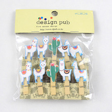 10pcs/lot Llama Cactus Wooden Clips Photo Paper Clothespin Craft Clips Tropical Alpaca Party Home Decoration Clip With Hemp Rope 10pcs lot creative original eco home decoration wooden clip photo paper craft clips party decoration clips