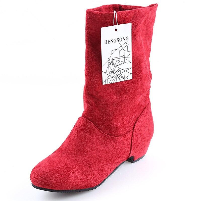 Женские ботинки; сезон осень-зима; Ботинки martin до середины икры; брендовые Модные женские ботинки без застежки из эластичного хлопка; женская обувь на плоской подошве - Цвет: Красный