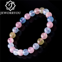 6 8mm Colorful Morganite Bracelets Round Natural Stone Bracelets Morganite Beads Bracelet For Women Gift Women Jewelry