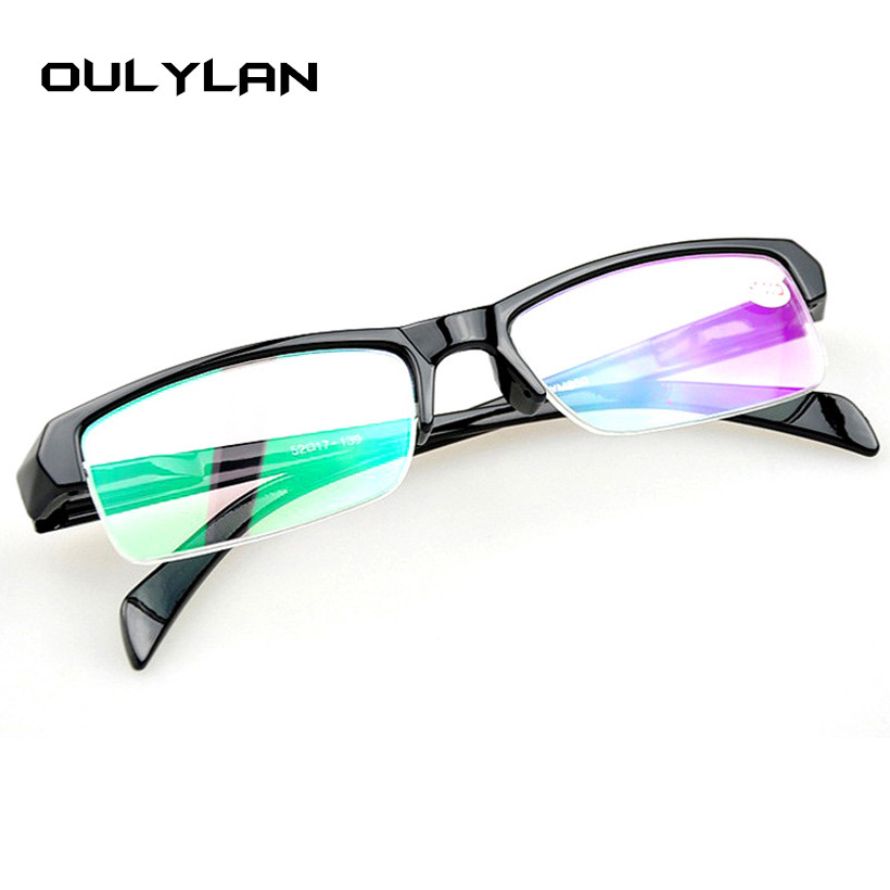 Oulylan Myopia Glasses Women Men High Quality Half Frame Prescription Eyeglasses Black Frames Diopter -1.0 -1.5 -2.0 -2.5 -4.0