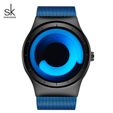 SK Unique Design Hiphop Sport Watches Women Luxury Stainless Steel Band Quartz Red Rotating Time Relogio Feminino 2017